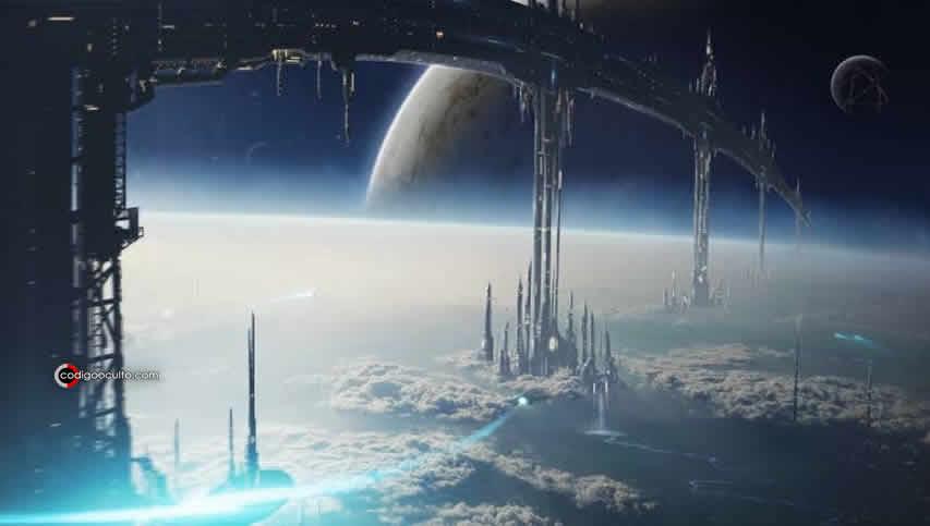 Representación de una civilización alienígena tecnológica.