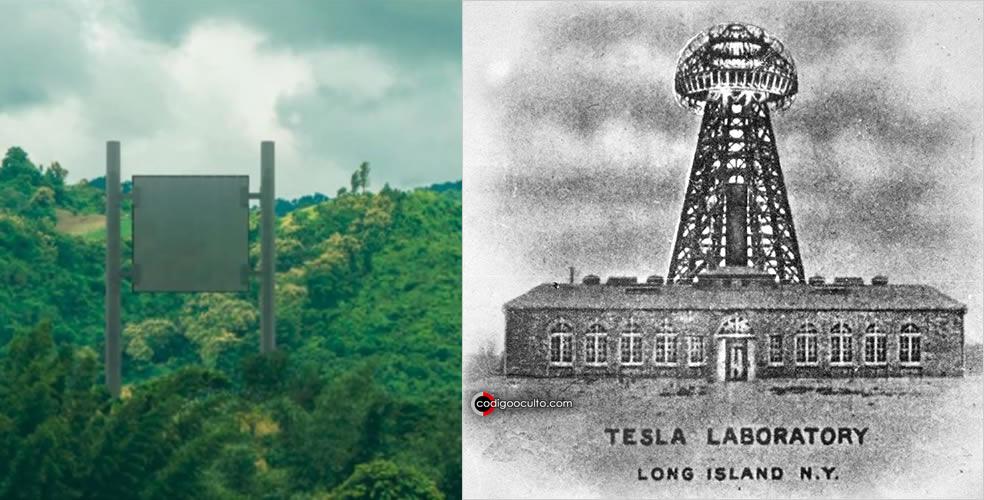 Izquierda: rectenna, dispositivo usado para convertir directamente microondas en corriente eléctrica. Derecha: laboratorio de Nikola Tesla y la emblemática Torre de Wardenclyffe
