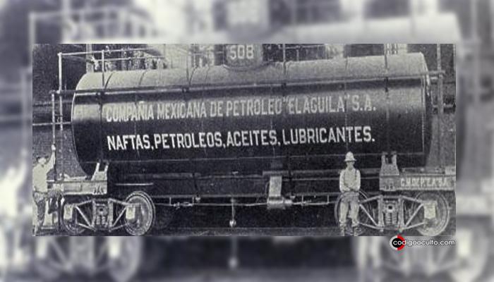 Imagen del un barril tanque de la primera industria petrolera nacional mexicana. Alemania tenía sus intereses en ella