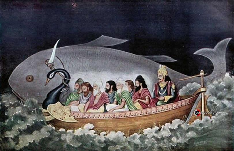 Representación de Manu y los siete sabios durante el diluvio
