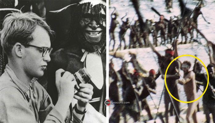 Una imagen de una tribu caníbal de Papua muestra a un hombre caucásico con rasgos similares a los de Michael Rorckefeller