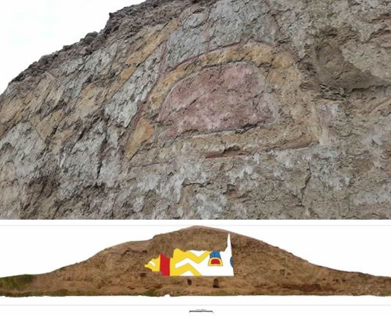 El mural en honor al dios araña hallado en Virú, La Libertad, Perú.