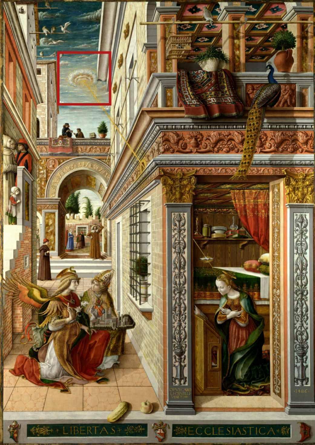 Anunciación con San Emigdio, Carlo Crivelli; 1486.