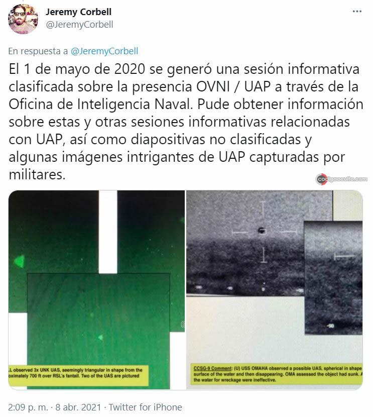 Tweet de Jeremy Corbell refiriéndose al OVNI visto en el vídeo