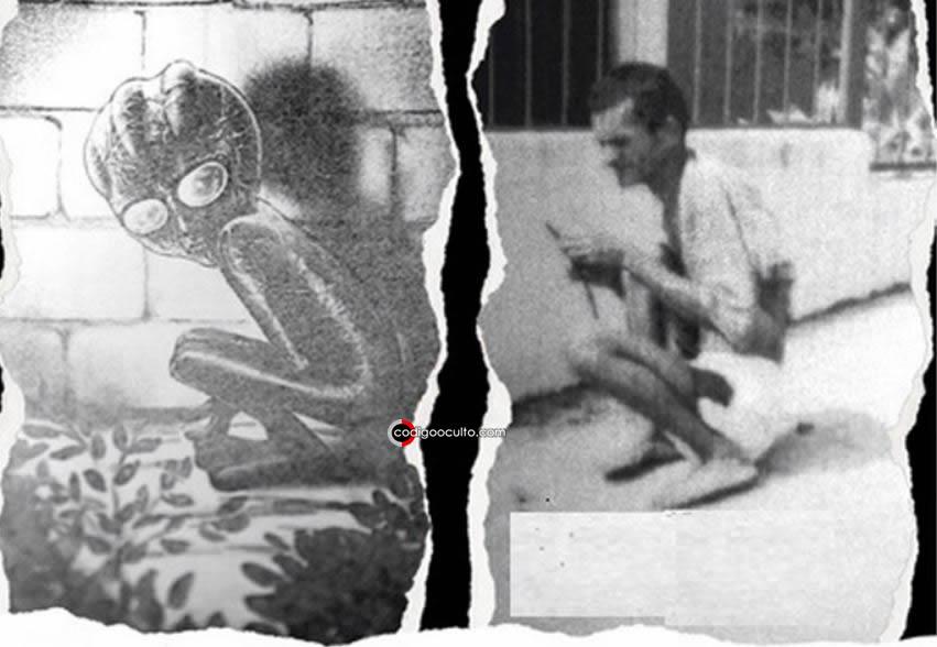 Izquierda: representación del extraterrestre de Varginha. Derecha: una persona con discapacidad que habría sido confundido con el alienígena en la noche. La posición en que se encuentran ambos podría responder al misterio
