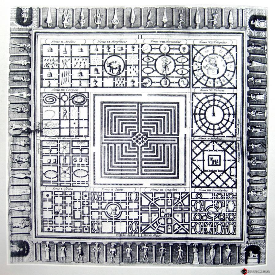 """Reconstrucción del laberinto egipcio por Athanasius Kircher. Grabado en placa de cobre (50X 41 cm) """"Turris Babel Sive Archontologia"""", Amsterdam 1679"""