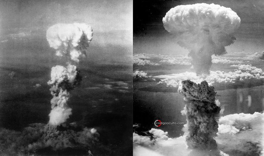 Explosión de bombas atómicas en Hiroshima (izquierda) y Nagasaki (derecha)