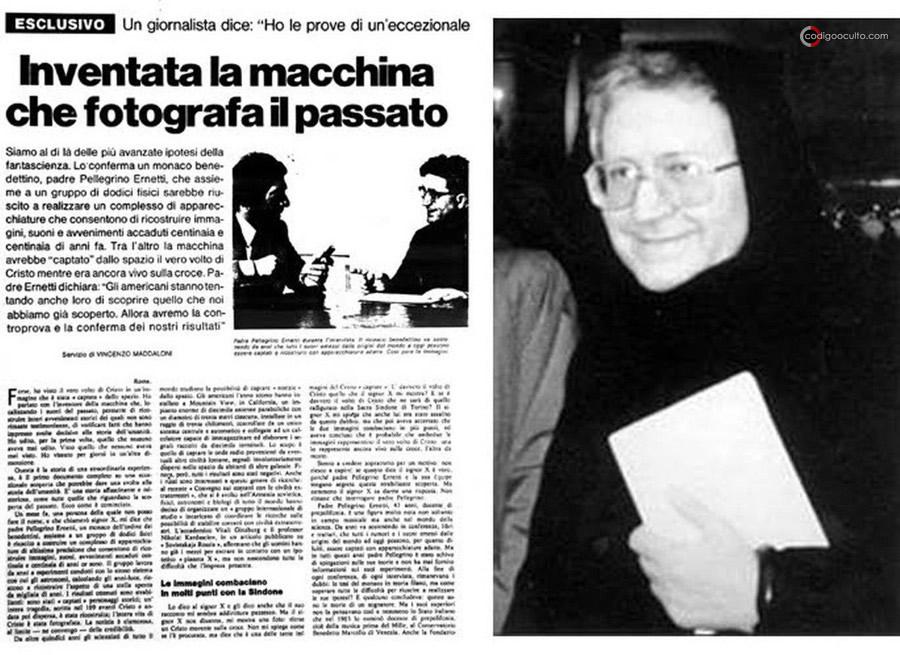 Con el fin de continuar sus estudios musicales, Ernetti se trasladó a Milán, centrando su interés en la «Oscilografía Electrónica, una rama de la física que se ocupa de la vibración de las voces». El enigmático benedictino, Padre Pellegrino Alfredo María Ernetti, el hombre que afirmó inventar el Cronovisor