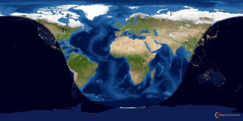 Lados diurnos y nocturnos de la Tierra en medio eclipse o eclipse mayor (26 de mayo a las 11:19 UTC ). La línea de sombra de la izquierda (que atraviesa el oeste de América del Norte y del Sur) representa la salida del Sol (puesta de la Luna) el 26 de mayo. La sombra de la derecha (que atraviesa el este de Asia) representa la puesta de sol (salida de la Luna) el 26 de mayo. Tienes que estar en el lado nocturno de la Tierra para ver la totalidad en medio del eclipse