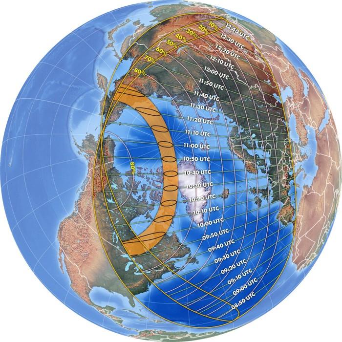 En todos los lugares dentro del área en bucle sobre América del Norte se ve el sol ya en eclipse al amanecer. La mitad del área en bucle a la derecha (noreste) ve el eclipse máximo después del amanecer; mientras que la mitad de la izquierda (suroeste) tiene el eclipse máximo al amanecer