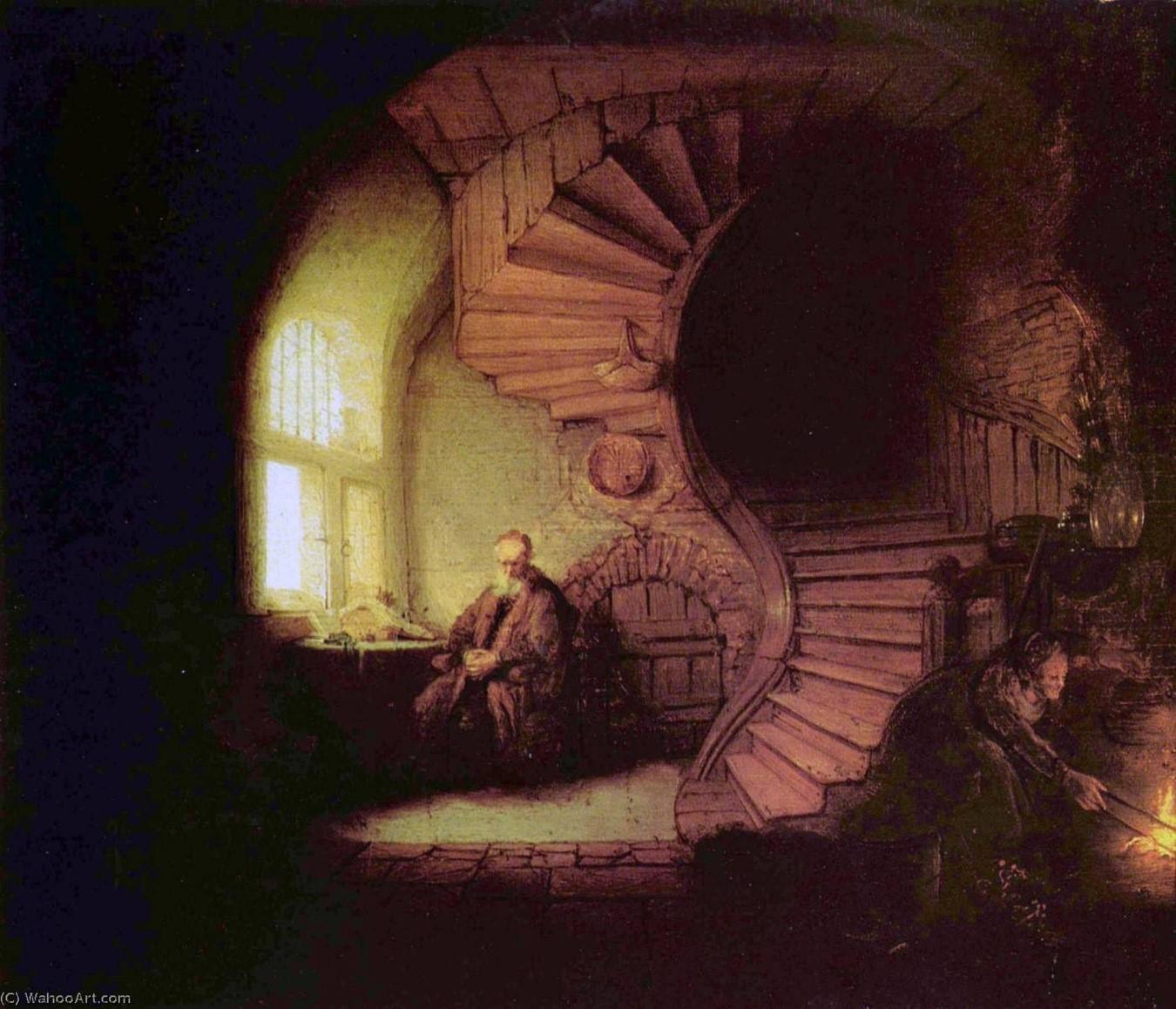 Filósofo en Meditación, 1632. Obra del pintor holandés Rembrandt