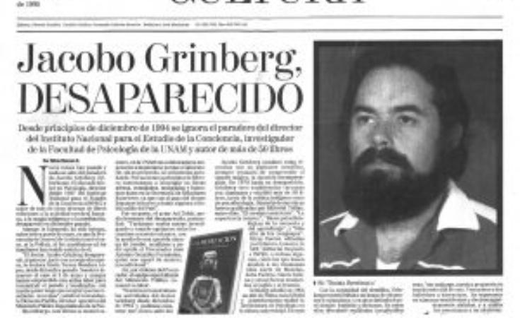 Titular referido a la desaparición de Jacobo Grinberg