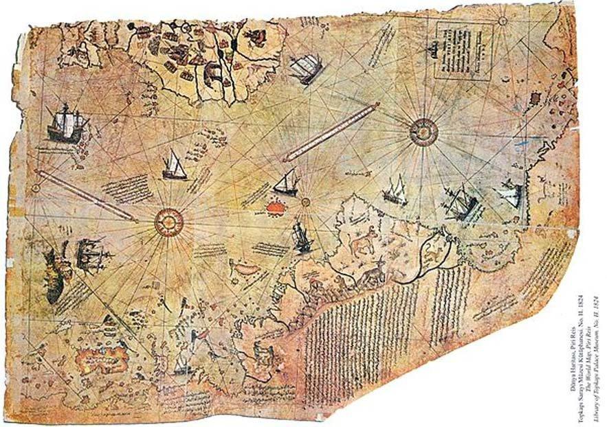 Mapa del mundo por el almirante otomano Piri Reis, dibujado en 1513