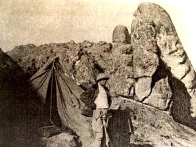 Fotografía de Daniel Ruzo, durante su expedición de 1952 hacia Marcahuasi