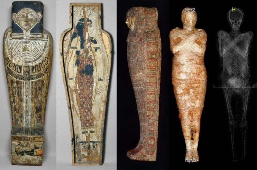 El ataúd, el cartonaje y la momia