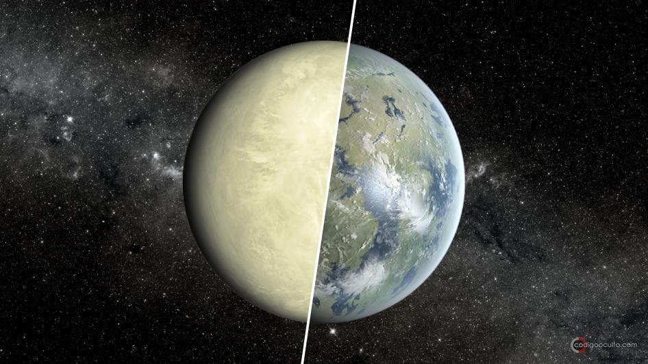 Concepto de un artista que muestra una super-Venus a la izquierda y la Tierra a la derecha