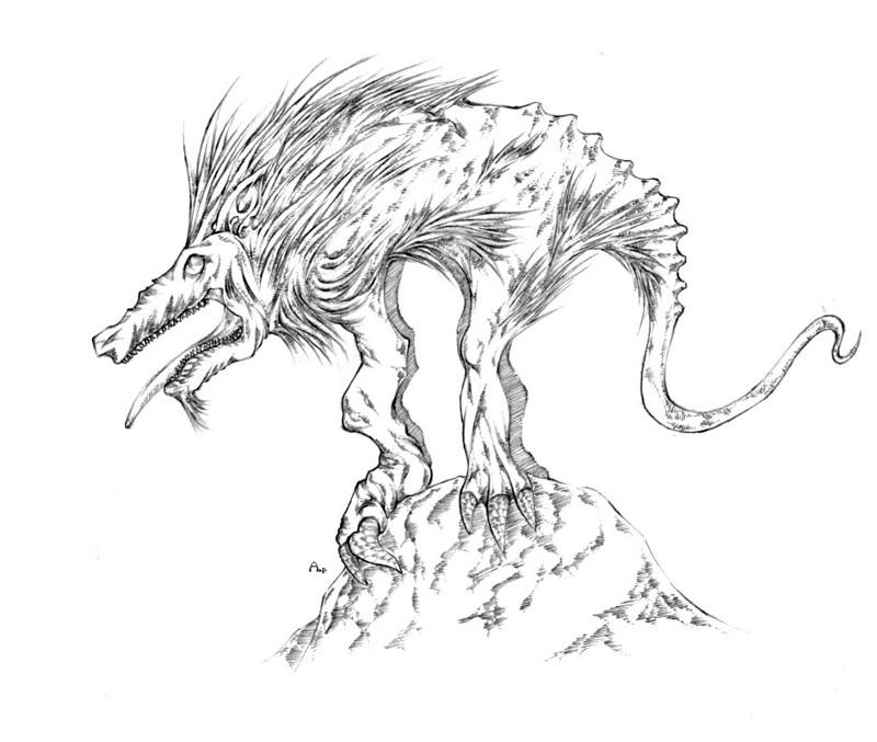 Representación artística del chupacabras. Algunas personas creen que sería el culpable de las mutilaciones de ganado