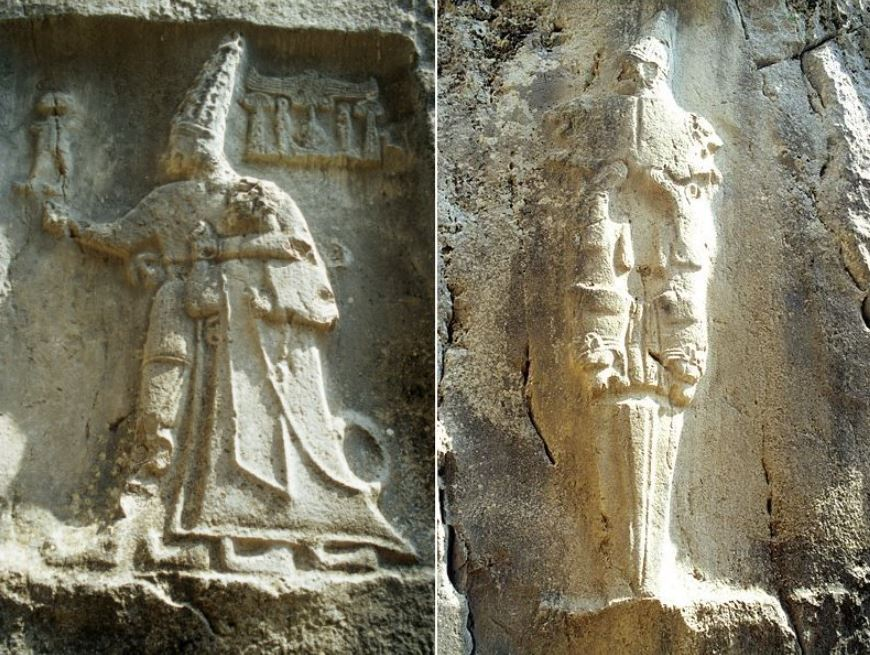 Izquierda: talla de roca que representa al dios Sharruma y al rey Tudhaliya, fechada alrededor de 1250-1220 a. C. Derecha: Nergal, el dios del inframundo en la era de la Antigua Asiria y la Antigua Babilonia