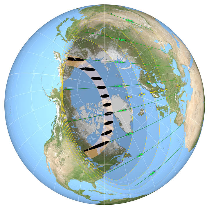 Los lugares donde el eclipse solar parcial y anular (puntos negros) serán visibles el 10 de junio de 2021