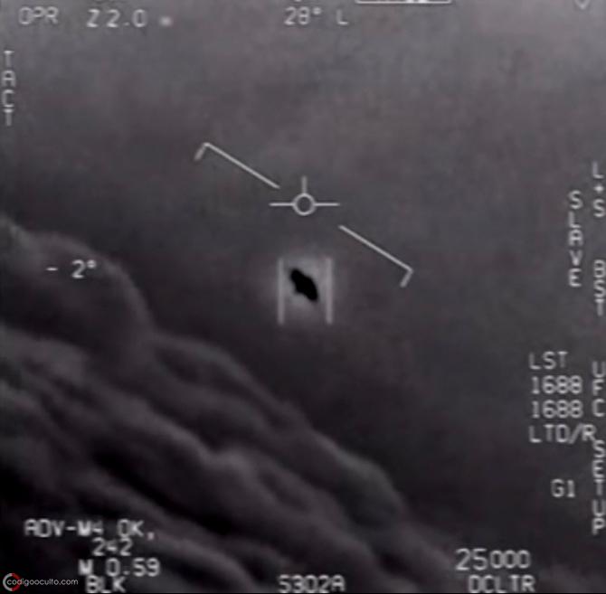 Captura de pantalla del video OVNI «Gimbal» que fue visto y grabado por pilotos de la Marina de EE. UU.
