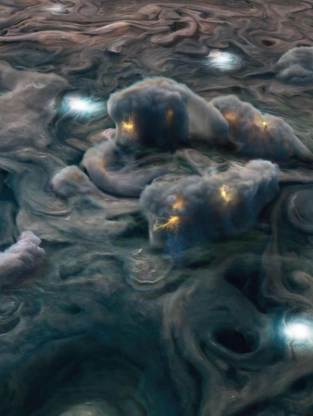 Ilustración de nubes tormentosas de Júpiter captadas por la sonda Juno