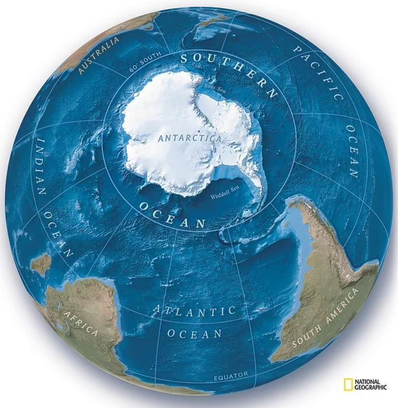 Nuevo mapa del hemisferio sur de National Geographic, que muestra el «nuevo» océano