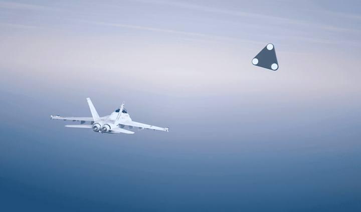 Representación artística del encuentro cercano con el OVNI de forma triangular