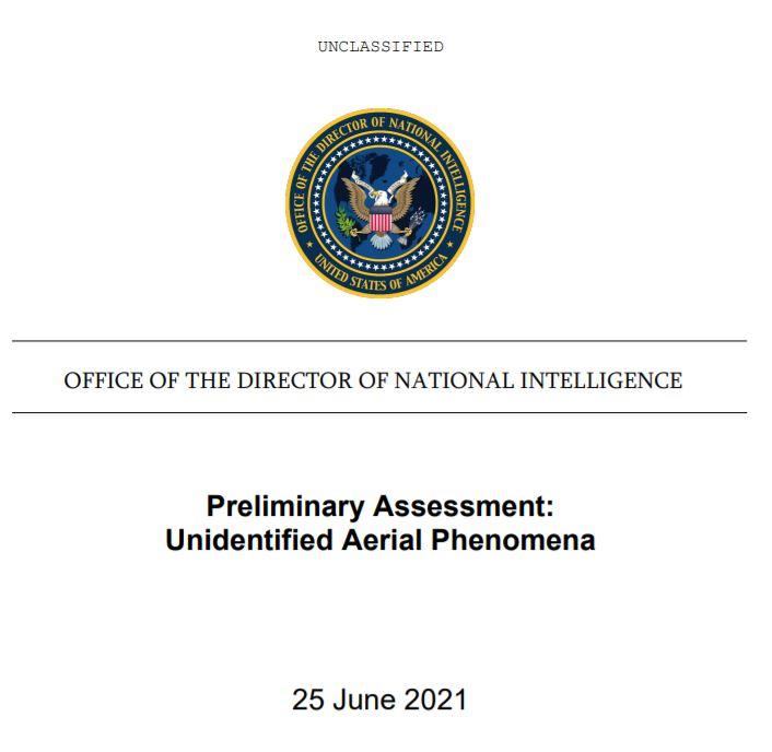 Primera página del Informe Preliminar del Pentágono sobre la investigación de Fenómenos Aéreos No Identificados.