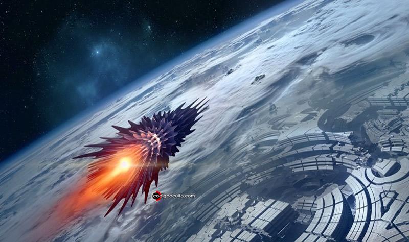 Representación de OVNI en la órbita terrestre