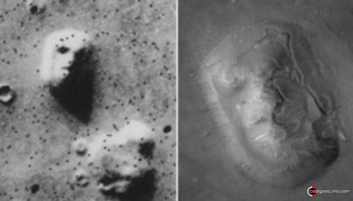 Imagen tomada por el rover Viking en 1976 que muestra un rostro grabado en una roca en la superficie de marte. Misma roca fotografiada por el Mars Global Surveyor en el 2001, sin rostro