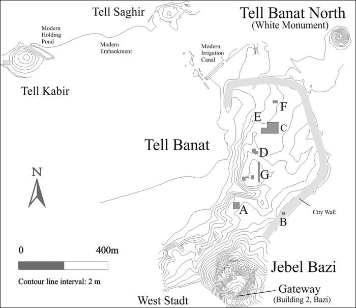 El complejo de asentamientos de Banat / Bazi, que muestra la ubicación de las trincheras de excavación A – G