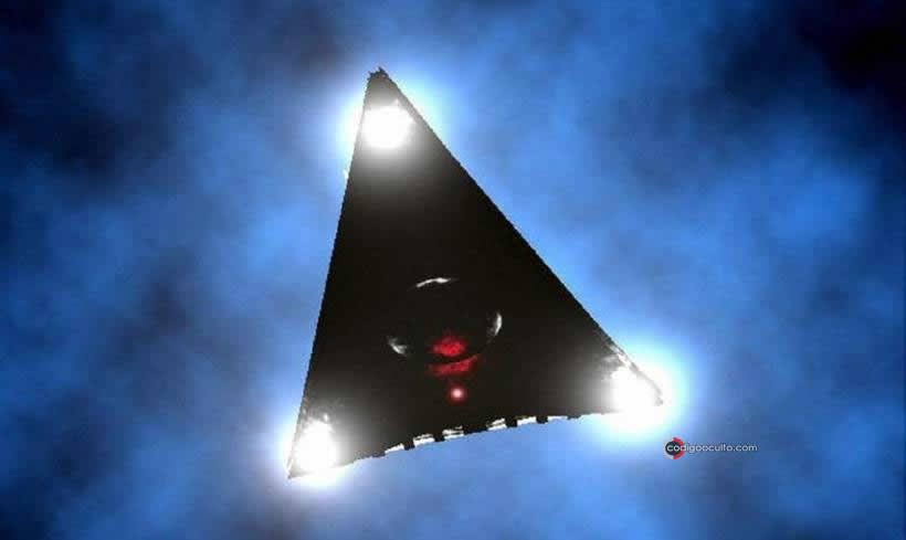 Representación de un triángulo negro OVNI.