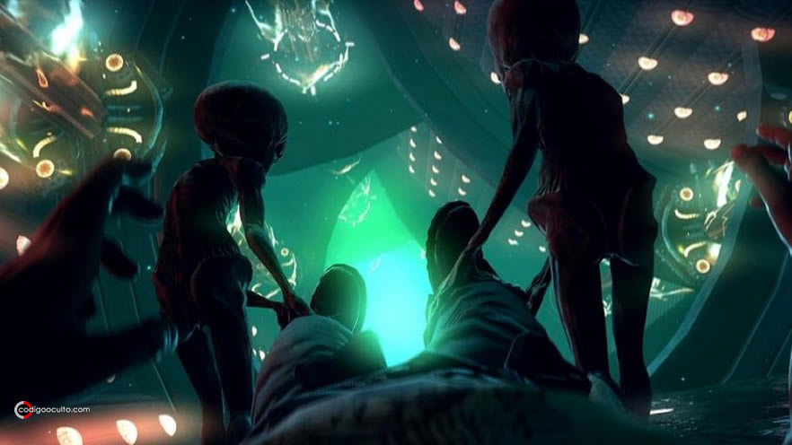 Representación de una abducción extraterrestre