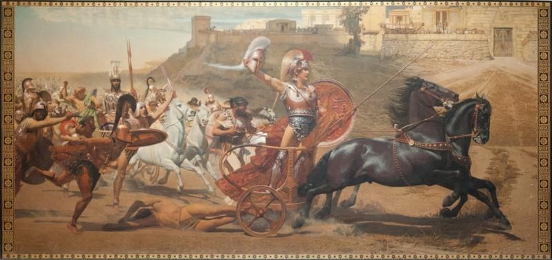 Fresco de Franz Matsch del palacio del Aquileón de Corfú que representa a Aquiles arrastrando el cadáver de Héctor ante los muros de Troya (1892-1894)