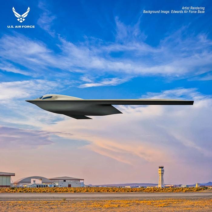 La nueva representación de la Fuerza Aérea de un bombardero furtivo B-21 Raider, que muestra el avión sobrevolando la Base de la Fuerza Aérea Edwards en California
