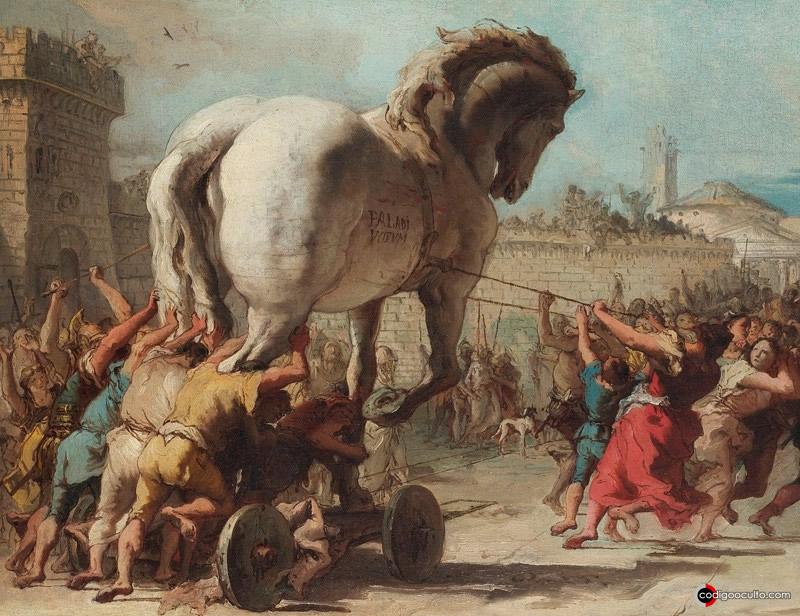 La entrada del caballo en Troya, pintura de Giovanni Domenico Tiepolo, 1773. Galería Nacional de Londres