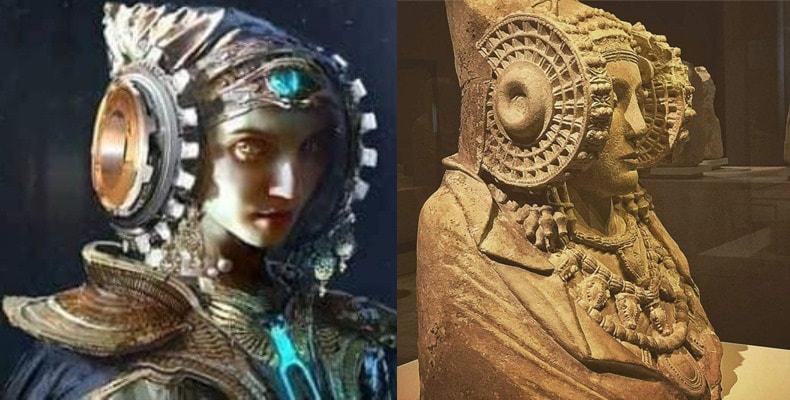 Representación moderna del casco de la Dama de Elche