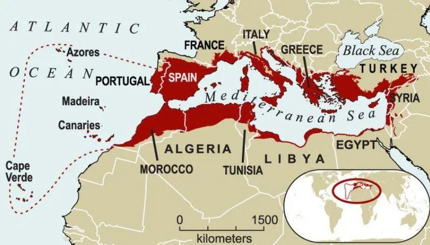 Mapa de la cuenca del Mediterráneo