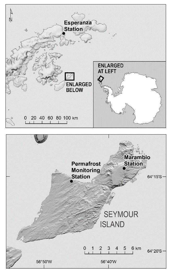 Ubicación de las estaciones de Monitoreo Esperanza y Permafrost