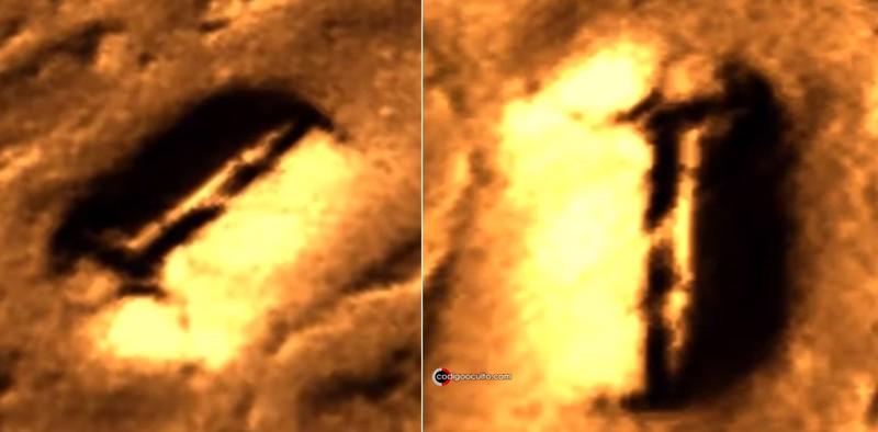 Dos vistas de la extraña estructura en Marte