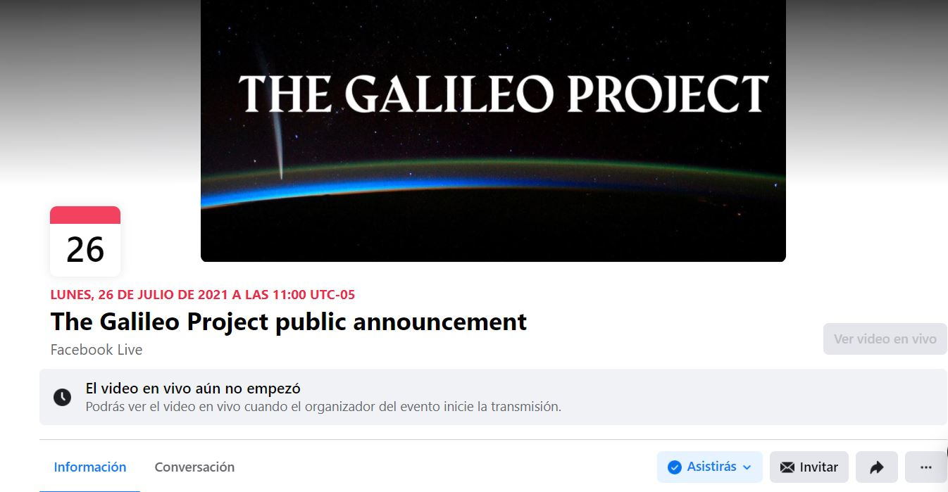 Evento en Facebook de The Galileo Project
