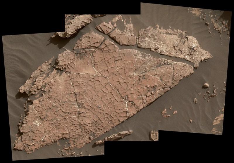 """La red de grietas en esta losa de roca marciana llamada """"Old Soaker"""" puede haberse formado a partir del secado de una capa de lodo hace más de 3 mil millones de años"""