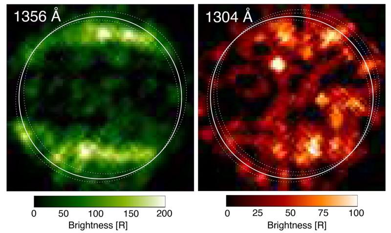 En 1998, el espectrógrafo de imágenes del telescopio espacial Hubble tomó estas primeras imágenes ultravioleta de Ganímedes, que revelaron un patrón particular en las emisiones observadas de la atmósfera de la luna. La luna muestra bandas de auroras que son algo similares a los óvalos de auroras observados en la Tierra y otros planetas con campos magnéticos. Esta fue una evidencia ilustrativa del hecho de que Ganímedes tiene un campo magnético permanente. Las similitudes en las observaciones ultravioleta se explicaron por la presencia de oxígeno molecular. Las diferencias se explicaron en ese momento por la presencia de oxígeno atómico, que produce una señal que afecta más a un color UV que al otro