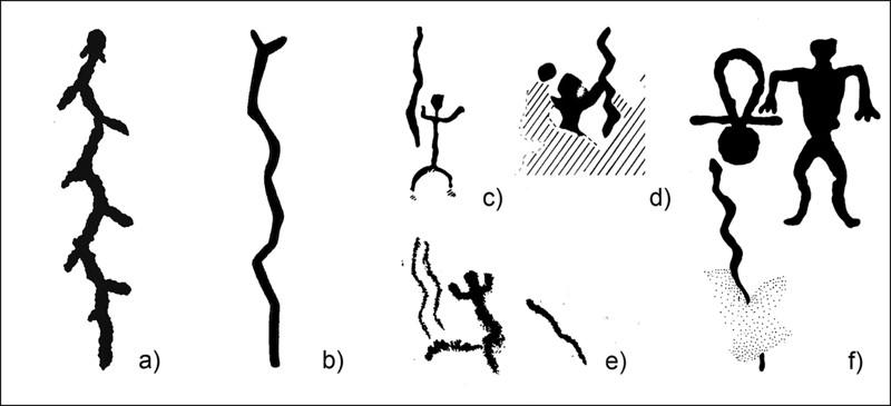 Representaciones de serpientes en el arte rupestre neolítico de varios sitios del norte de Europa. a) Lago Onega; b) Península de Kola; ce) Finlandia; f) Mar Blanco