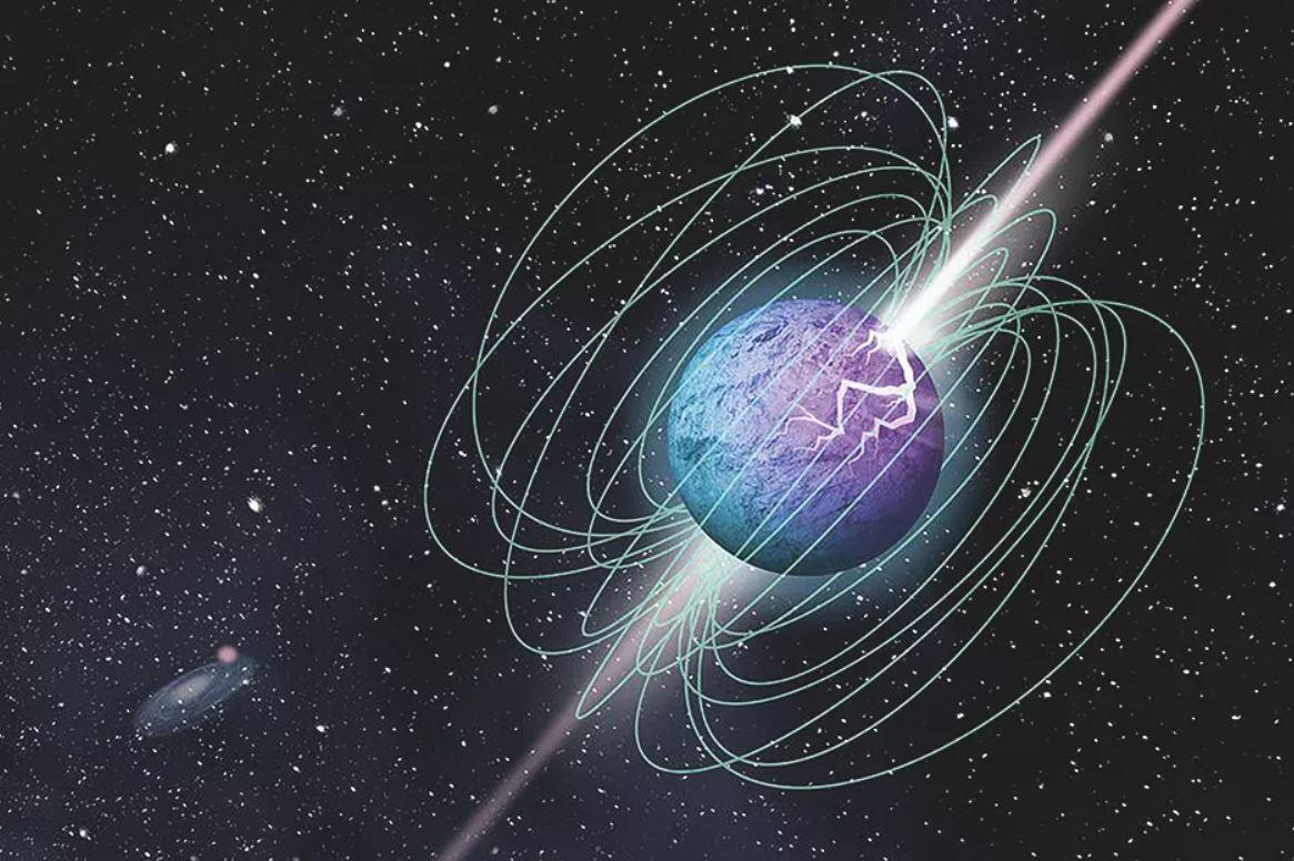 Representación artística del magnetar SGR 1935+2154 durante un estallido, destacando su compleja estructura de campo magnético y sus emisiones de haz