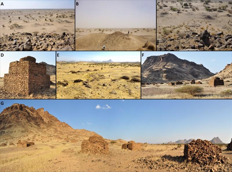 Ejemplos de túmulos de estribaciones