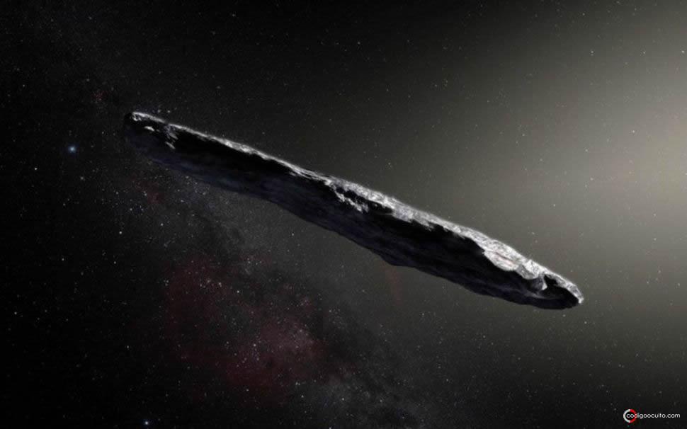 Representación artística de 'Oumuamua, el primer objeto interestelar confirmado jamás visto en nuestro sistema solar