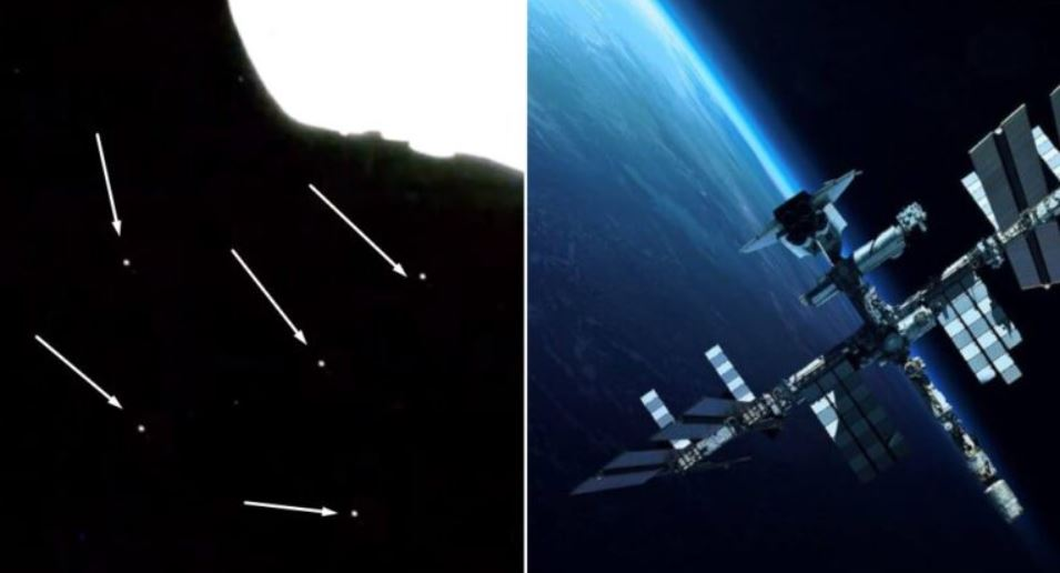 Los días 6 y 7 de julio durante varios minutos se observaron objetos pasar cerca de la Estación Espacial Internacional en dirección de la Tierra