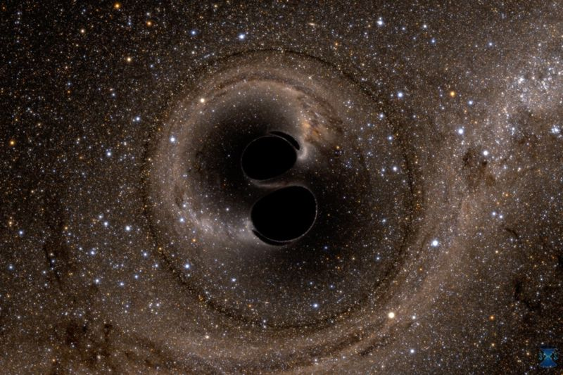 Representación de dos agujeros negros
