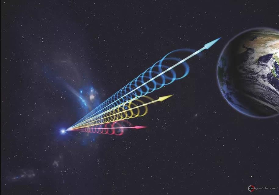 Representación artística de una ráfaga rápida de radio que estalló con sus diferentes longitudes de onda de radio (el rojo es largo y el azul corto) cuando llegan a la Tierra